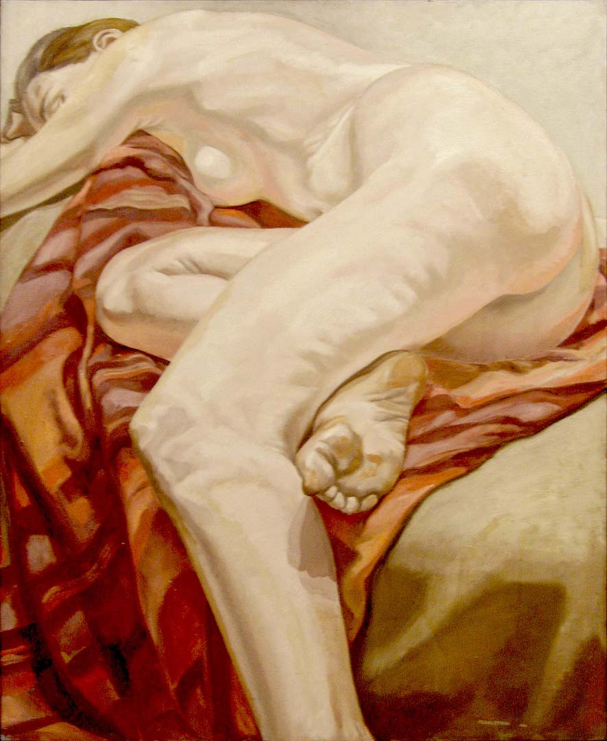 "1966 Reclining Model on Striped Cloth Oil on Canvas 44"" x 36"""