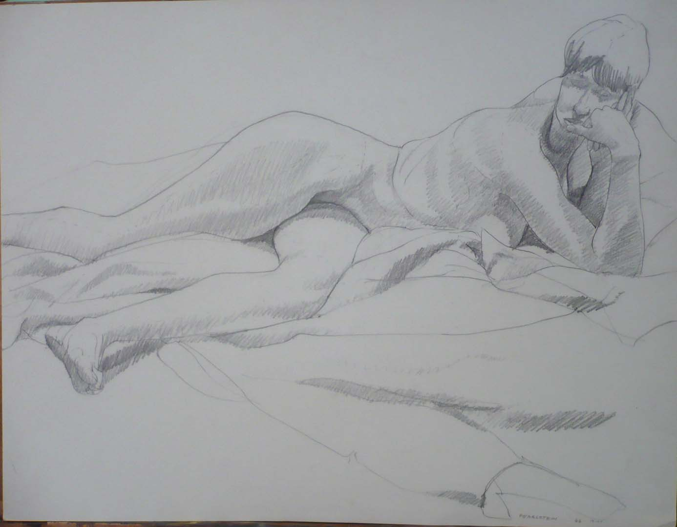 "1966 Reclining Twisted Female Nude Pencil 20"" x 26"""