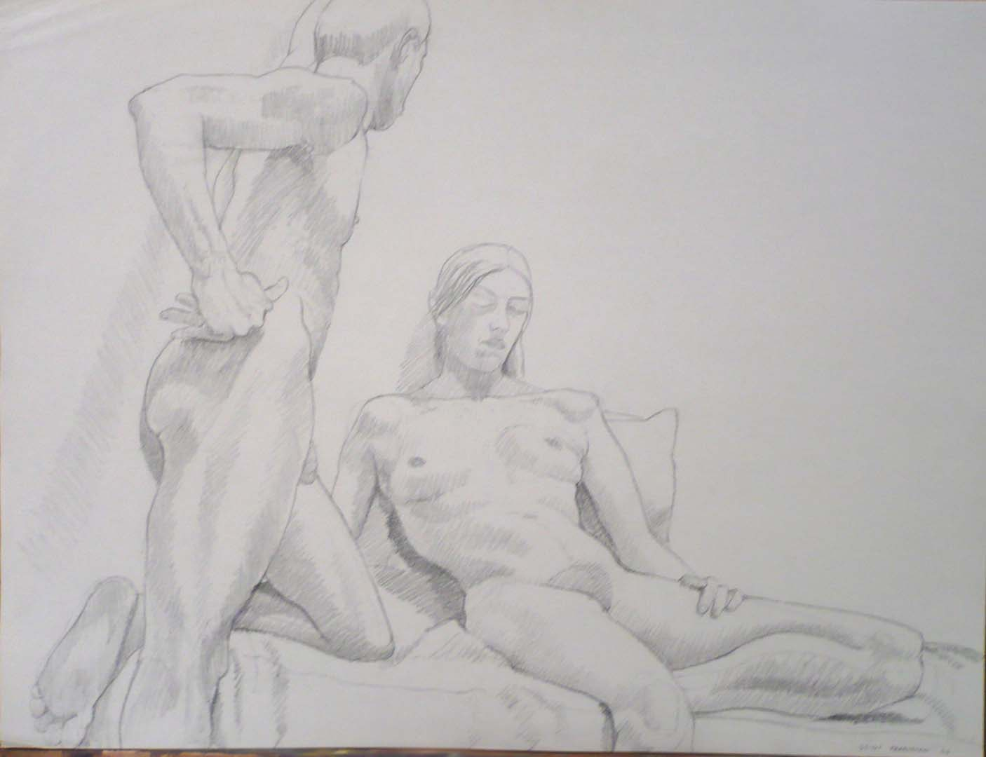 1966 Standing Male Leaning Forward on Seated Female Pencil 17.875 x 23.625