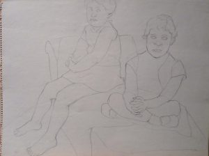 """1967 Drawing for Portrait of the Artist's Daughters Pencil 17.875"""" x 23.875"""""""