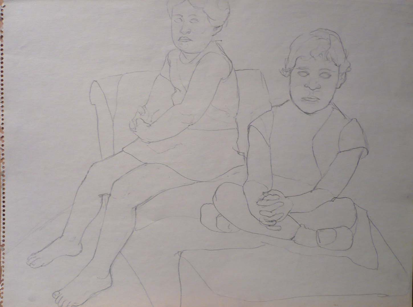 "1967 Drawing for Portrait of the Artist's Daughters Pencil 17.875"" x 23.875"""