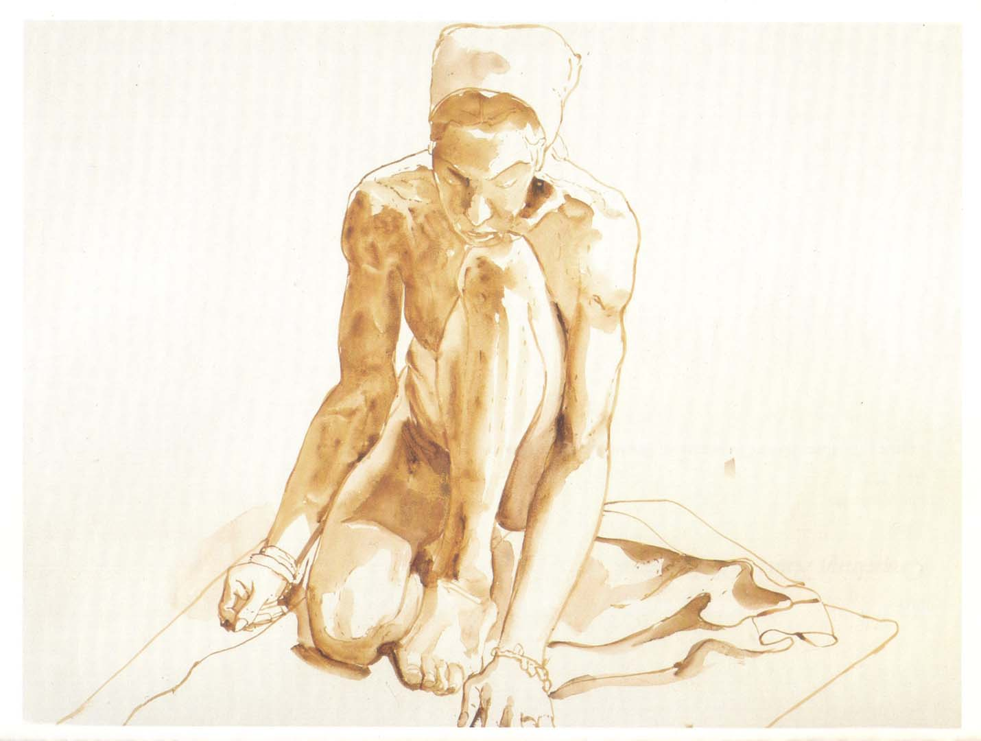 1967 Kneeling Figure Sepia Wash on Paper 22 x 30