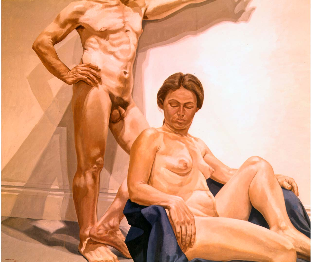 "1967 Male & Female Models in the Studio Oil on Canvas 60"" x 72"""