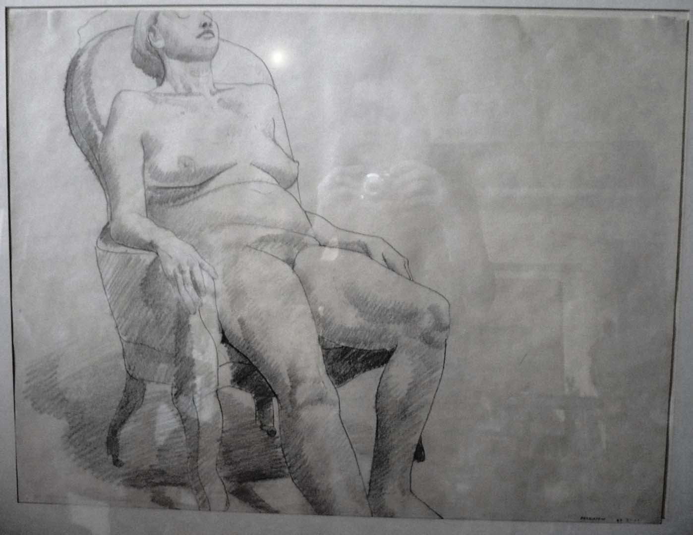 "1967 Model Seated in Armchair Pencil 17.5"" x 23.5"""