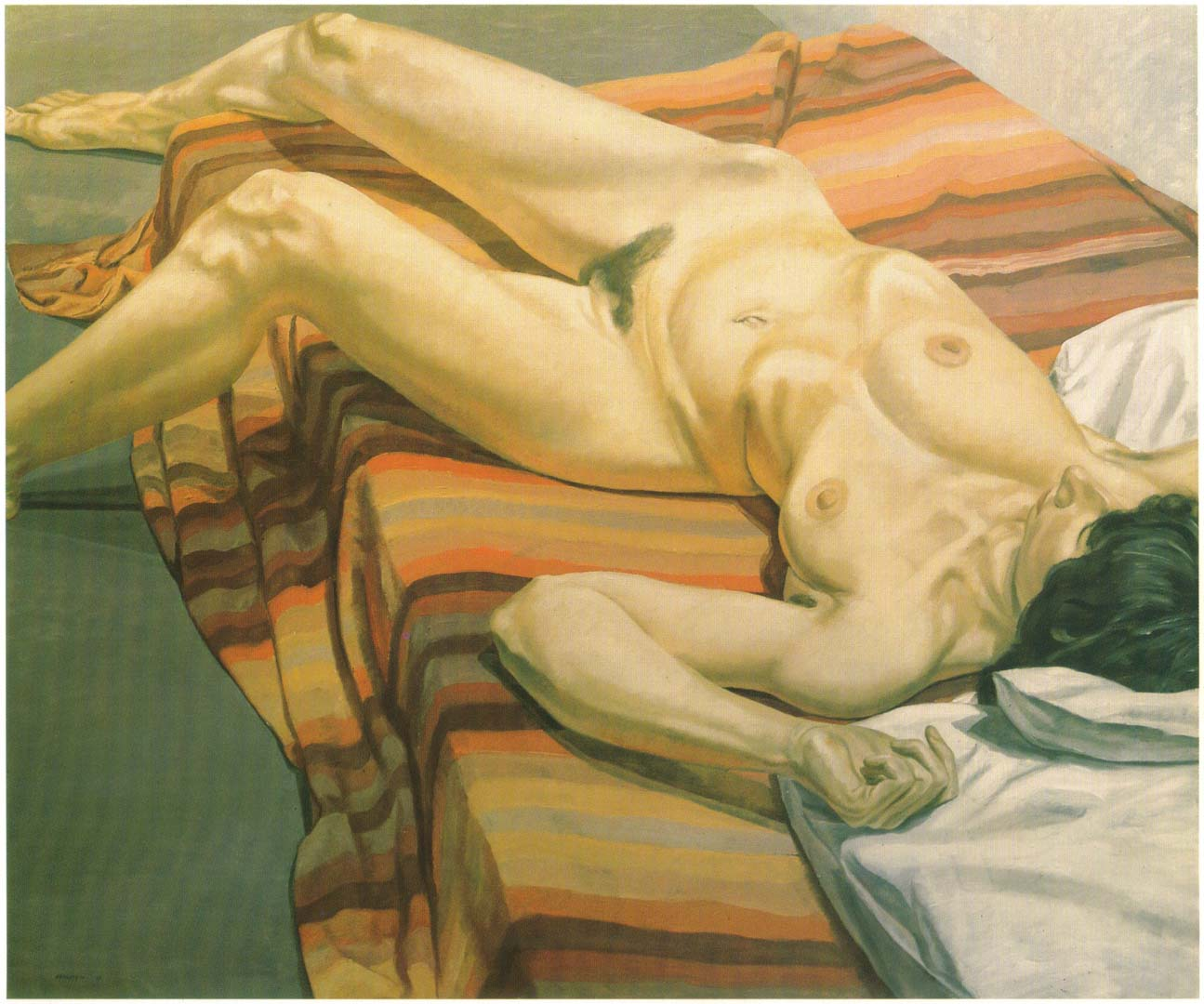 "1967 Nude on Striped Drape Oil on Canvas 60"" x 72"""