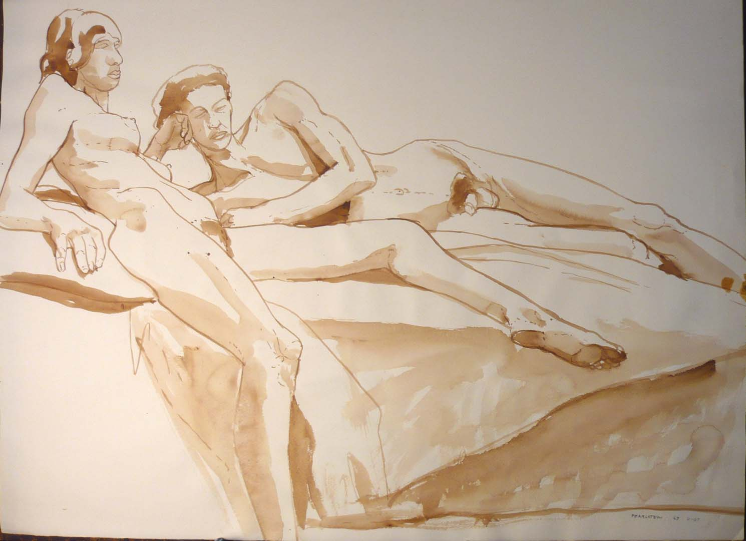 "1967 Reclining Female and Male Nudes Sepia 22"" x 29.875"""