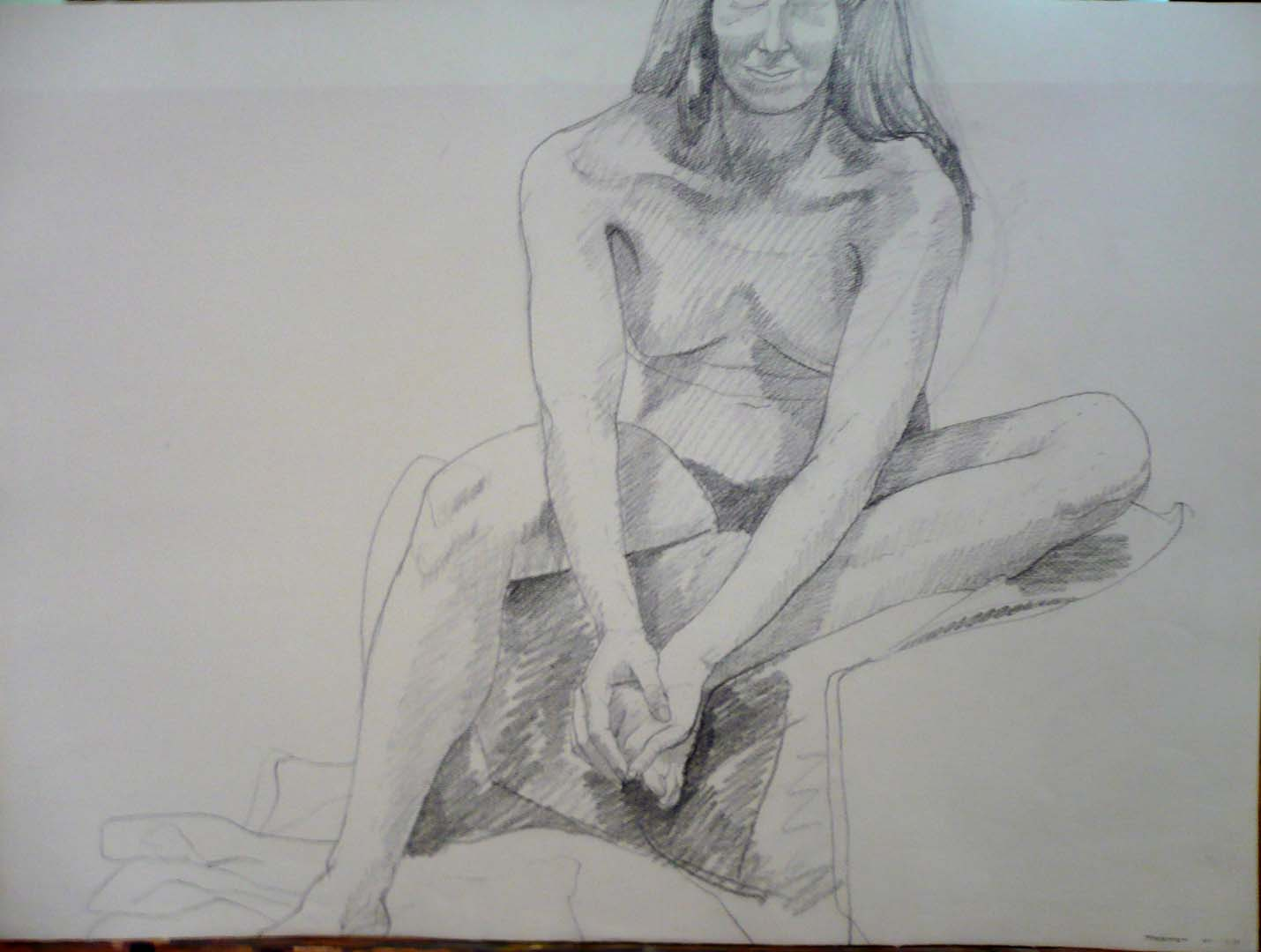 "1967 Seated Female on Drape Pencil 22"" x 29.875"""