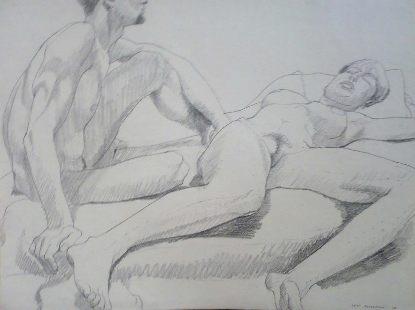 "1967 Seated Male Model and Reclining Female Pencil 17.875"" x 23.5"""