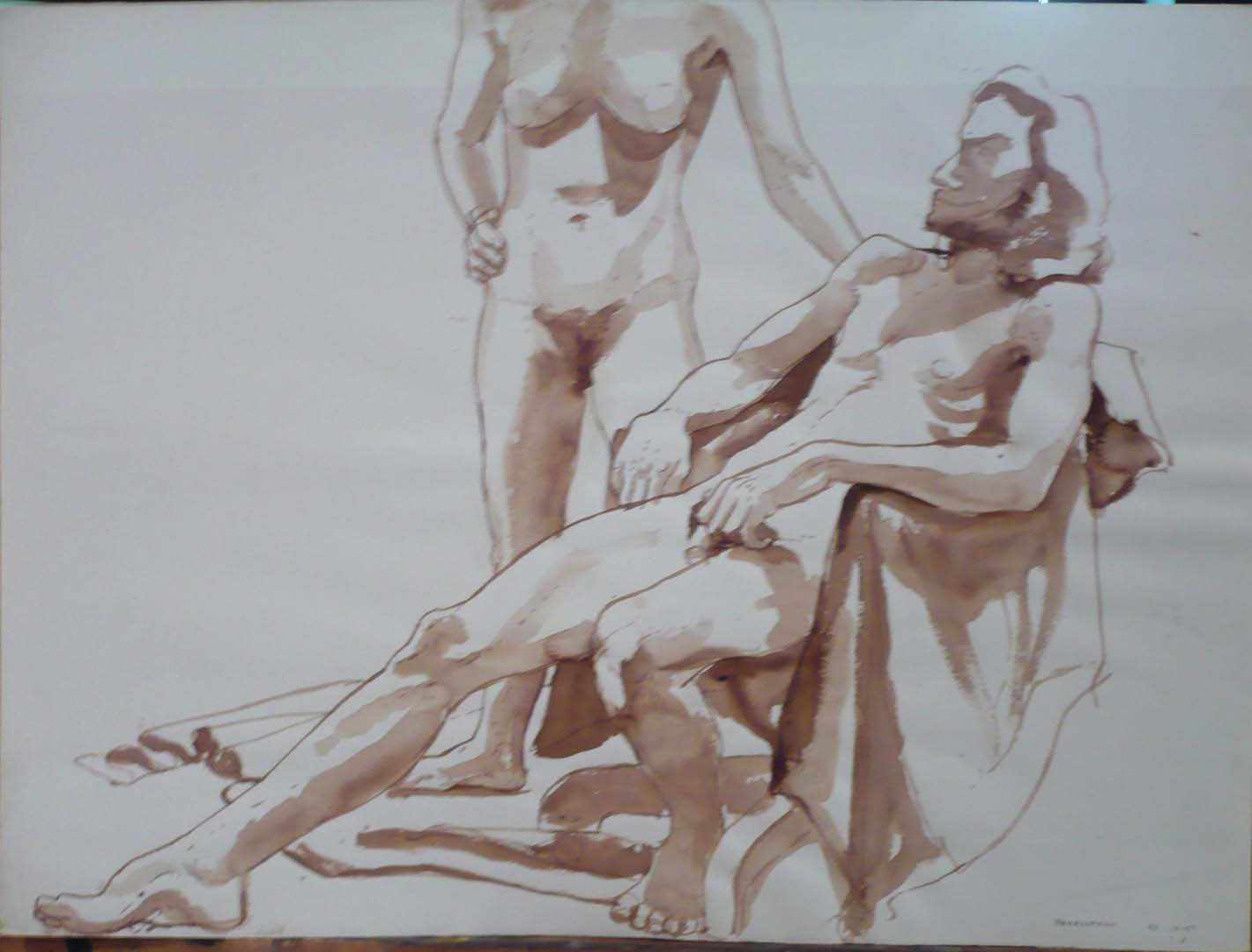 "1967 Standing Female Model and Seated Male Model with Chair Sepia 22"" x 30"""