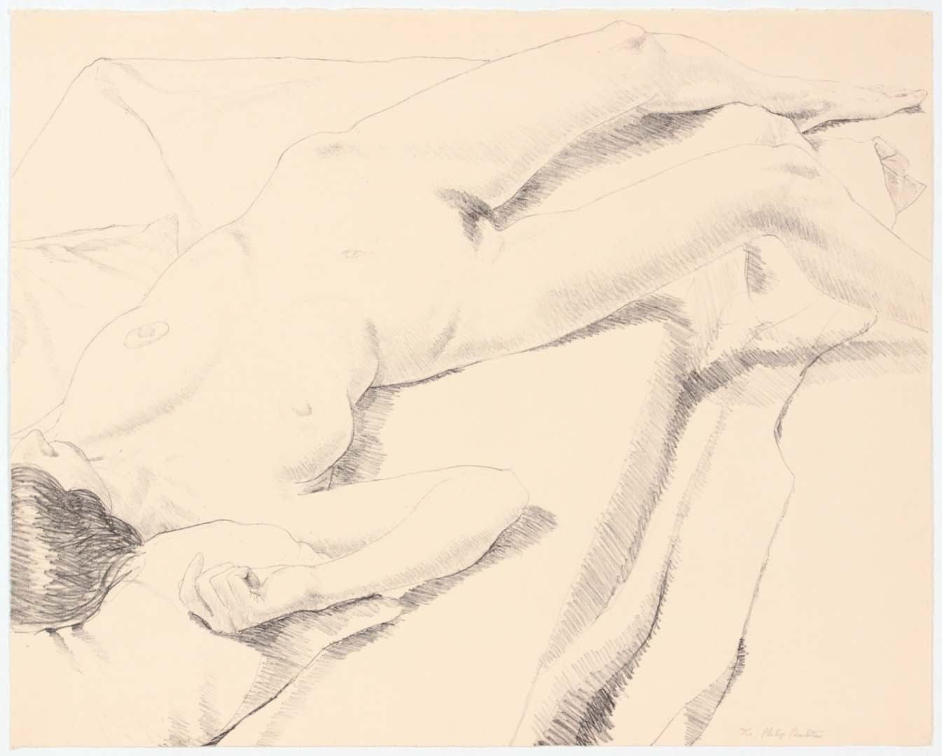 1968 Diagonal Nude Lithograph on Paper 20 x 25.125