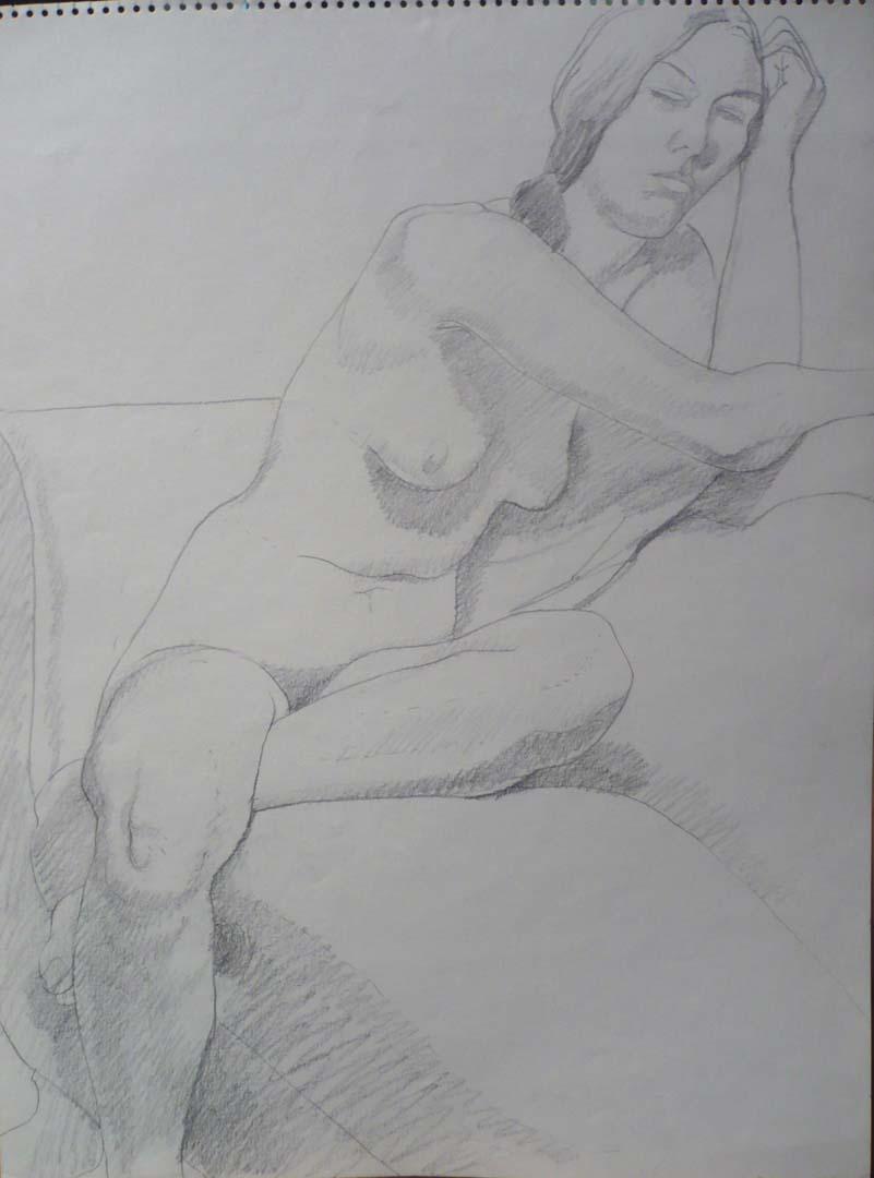 """1968 Female Nude Seated on Sofa Pencil 24"""" x 18"""""""