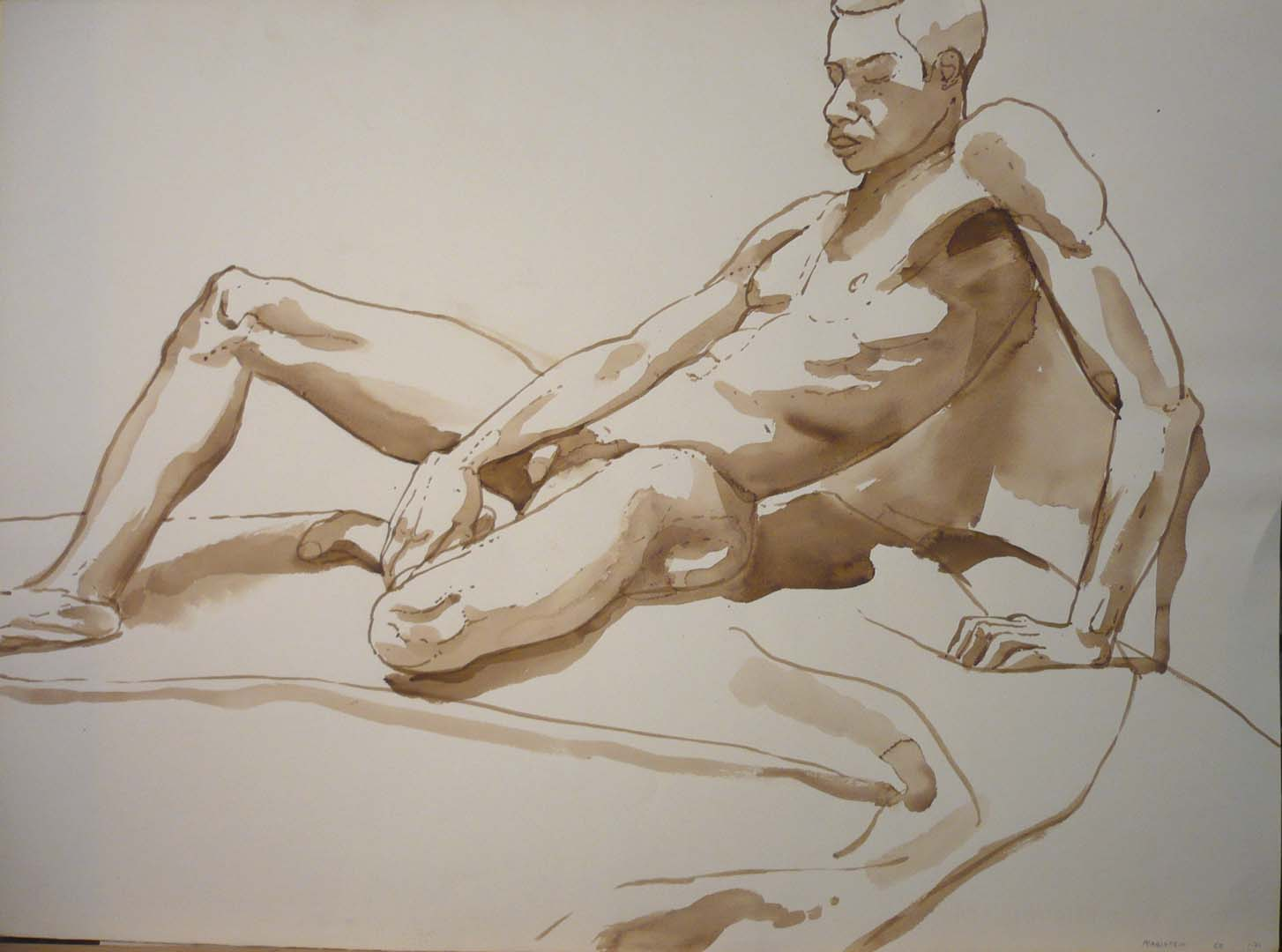 """1968 Leaning Male Model Sepia 22"""" x 29.875"""""""