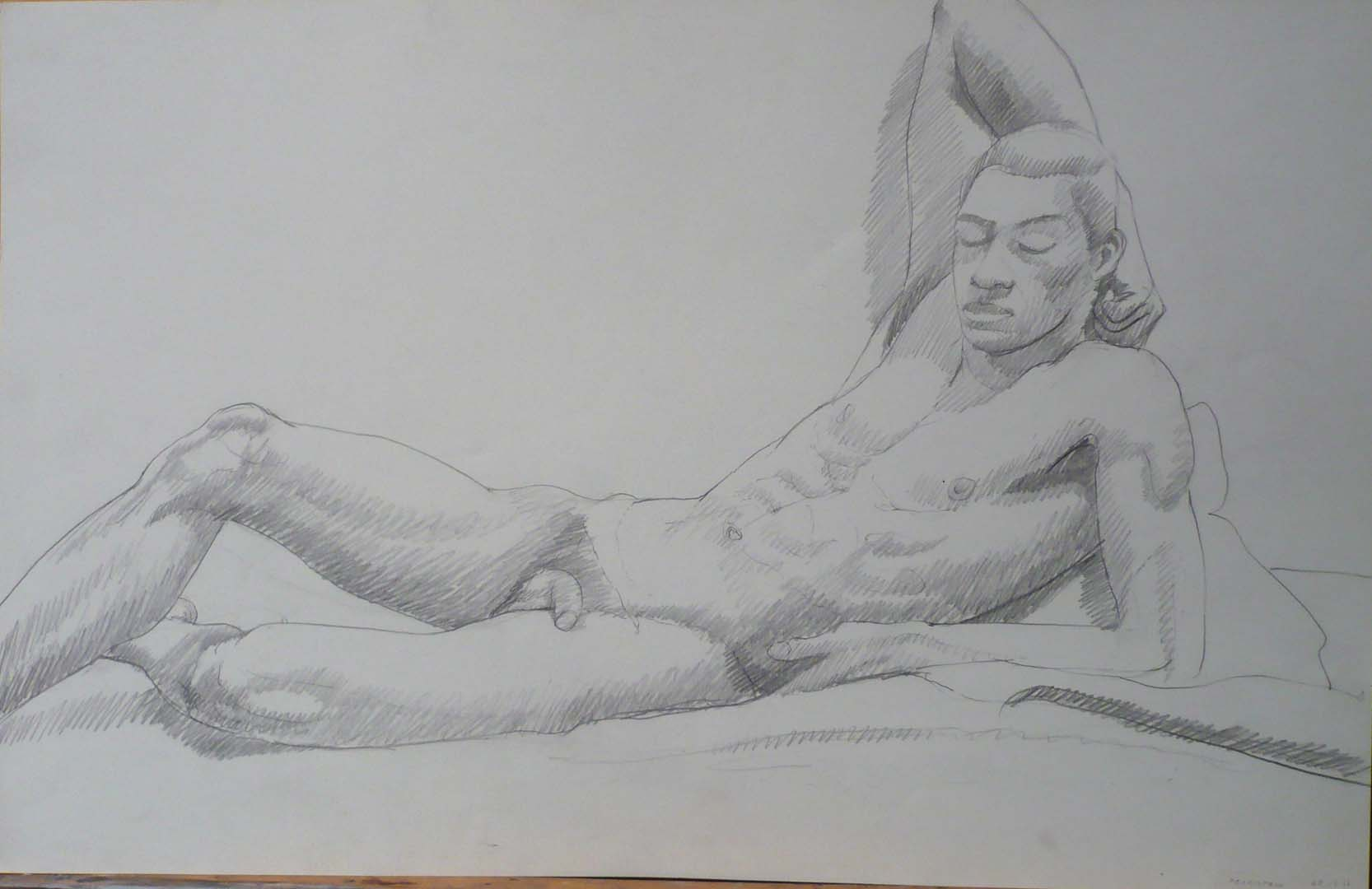 1968 Leaning Male Nude with Arm Behind Head Pencil 14 x 22