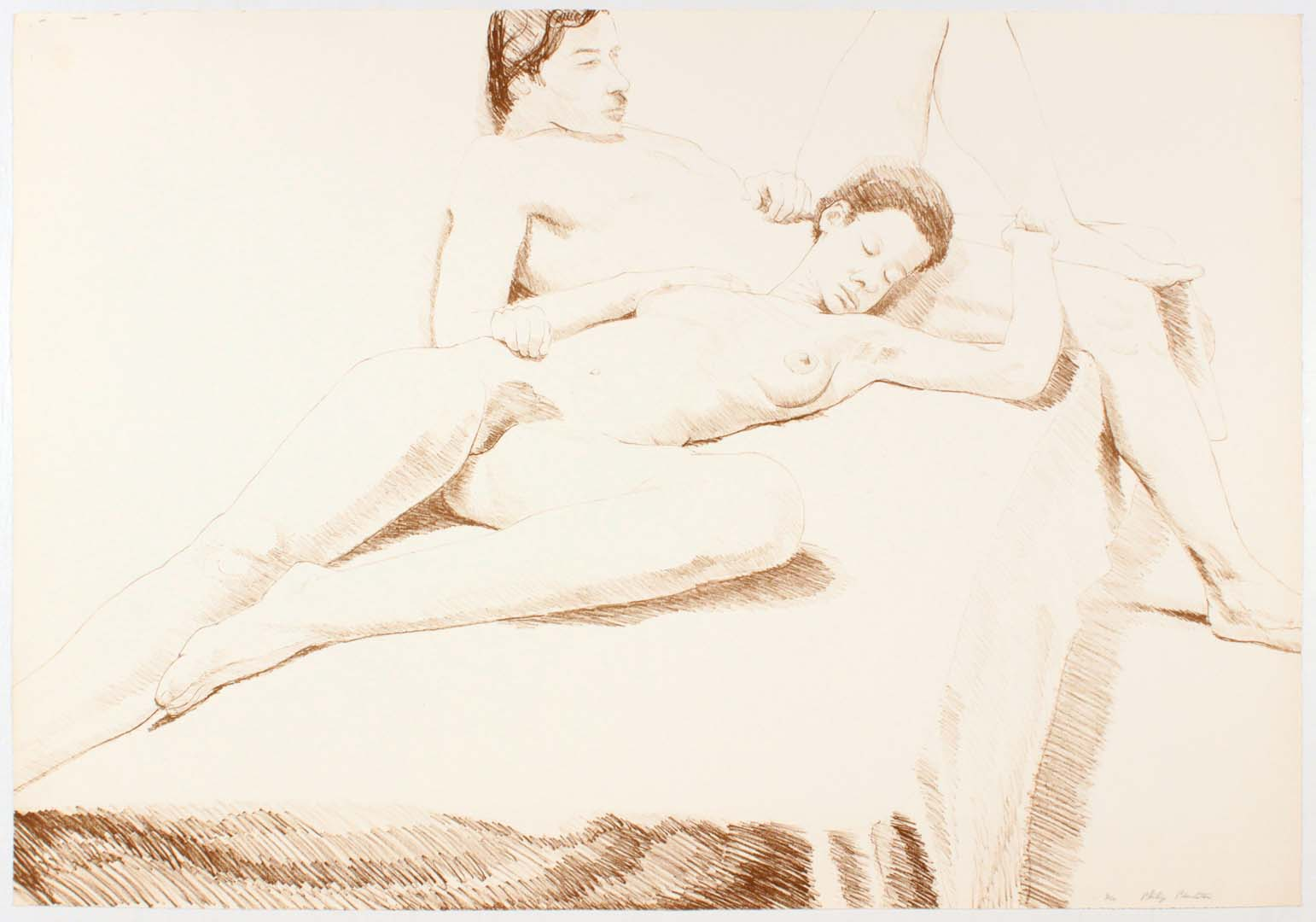 1968 Nude Couple Oversize Lithograph on Paper 27.0625 x 39.0625