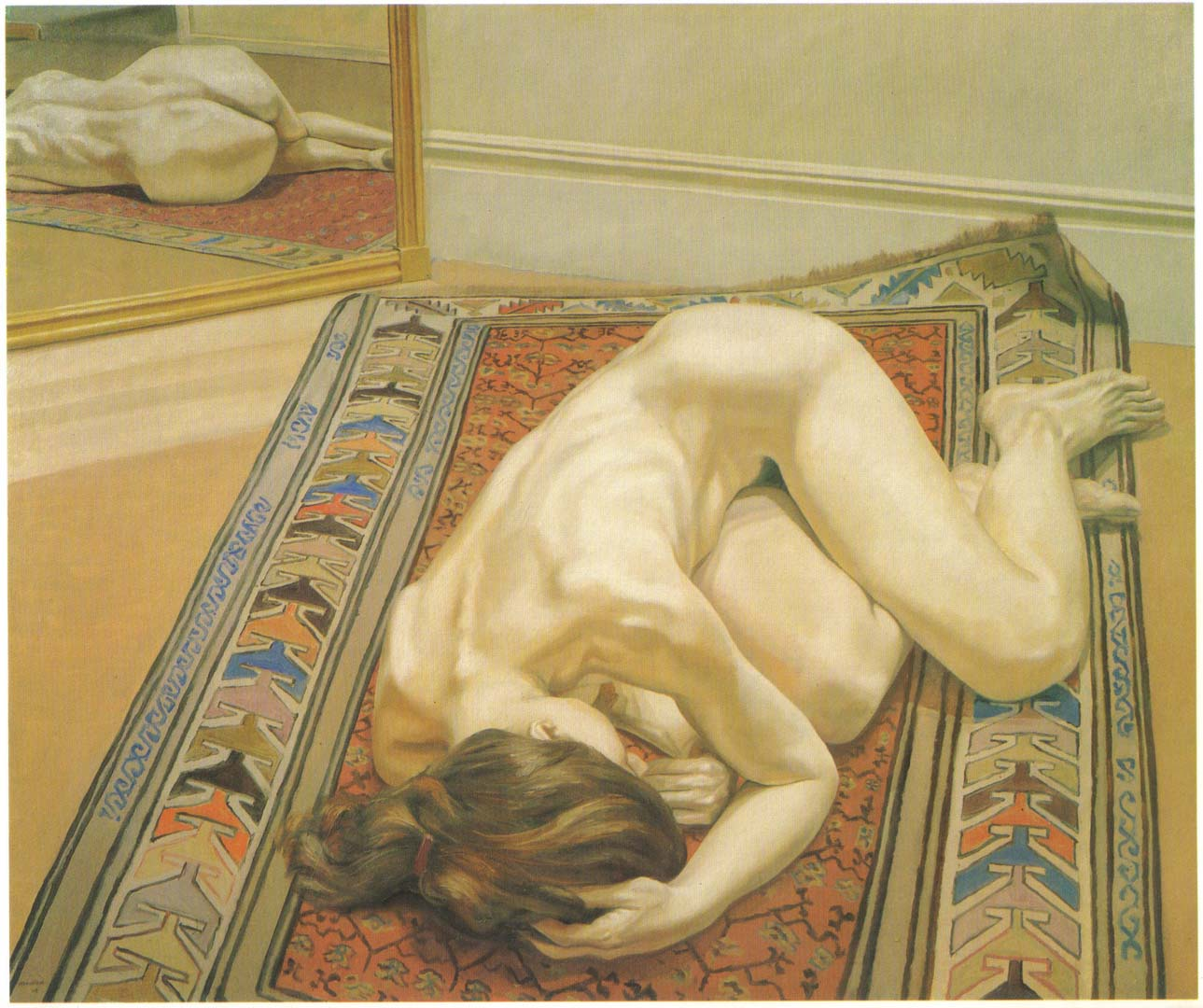 1968 Reclining Nude on Oriental Rug with Mirror Oil on Canvas 60 x 72