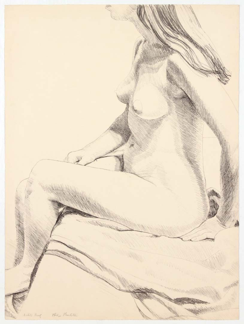 "1968 Seated Nude Lithograph on Paper 23.5"" x18.125"""