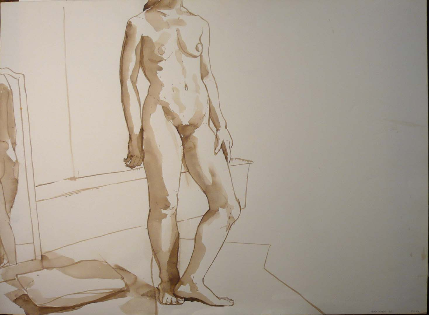 "1968 Standing Female Nude with Mirror Sepia 22"" x 29.875"""