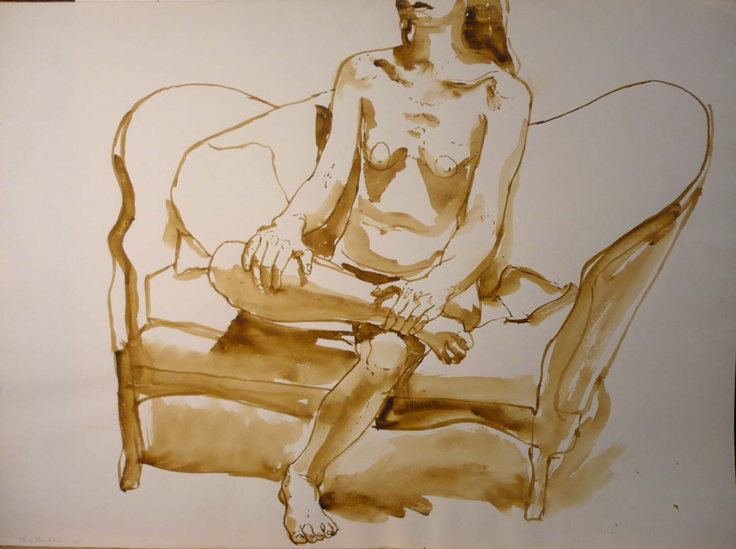1968 Untitled (Seated Model) Sepia 22 x 29.875