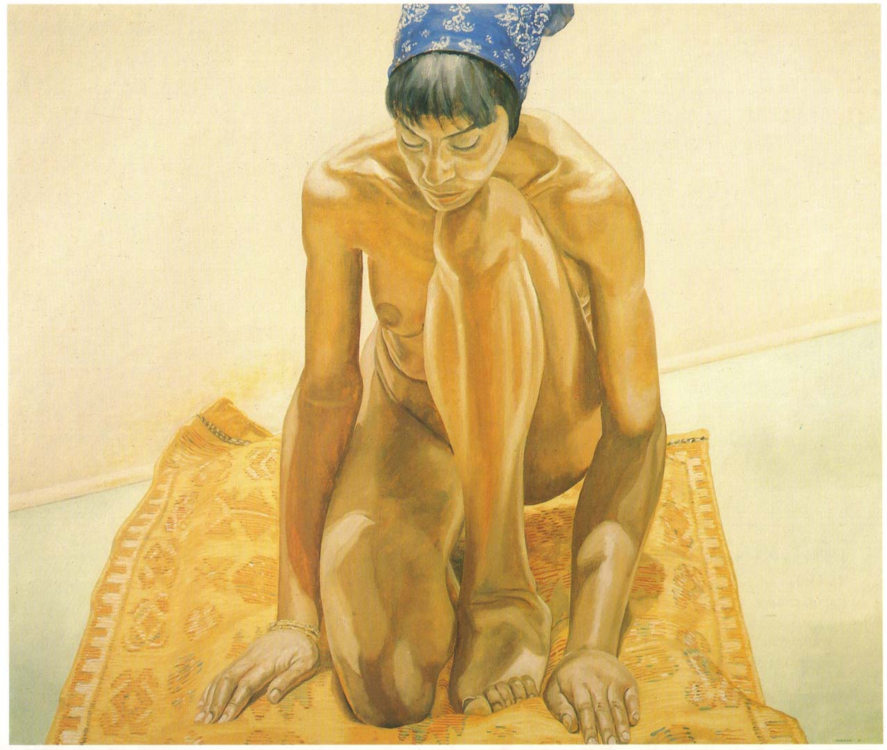 1969 Crouching Nude with Bandana Oil on Canvas 64 x 72