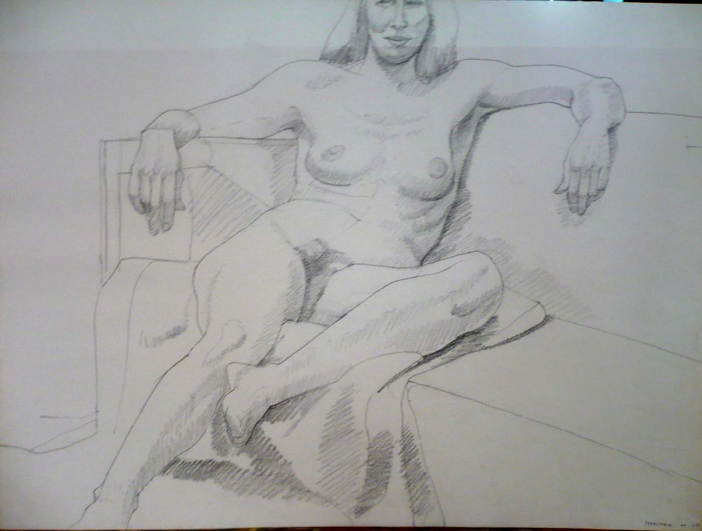 "1969 Female Model Leaning Pencil 22.125"" x 29.875"""