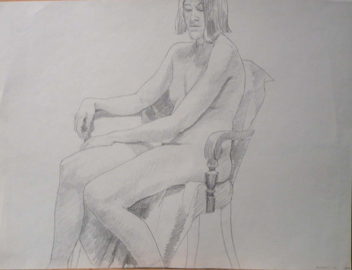 "1969 Female Model Seated in Chair Pencil 17.875"" x 23.875"""