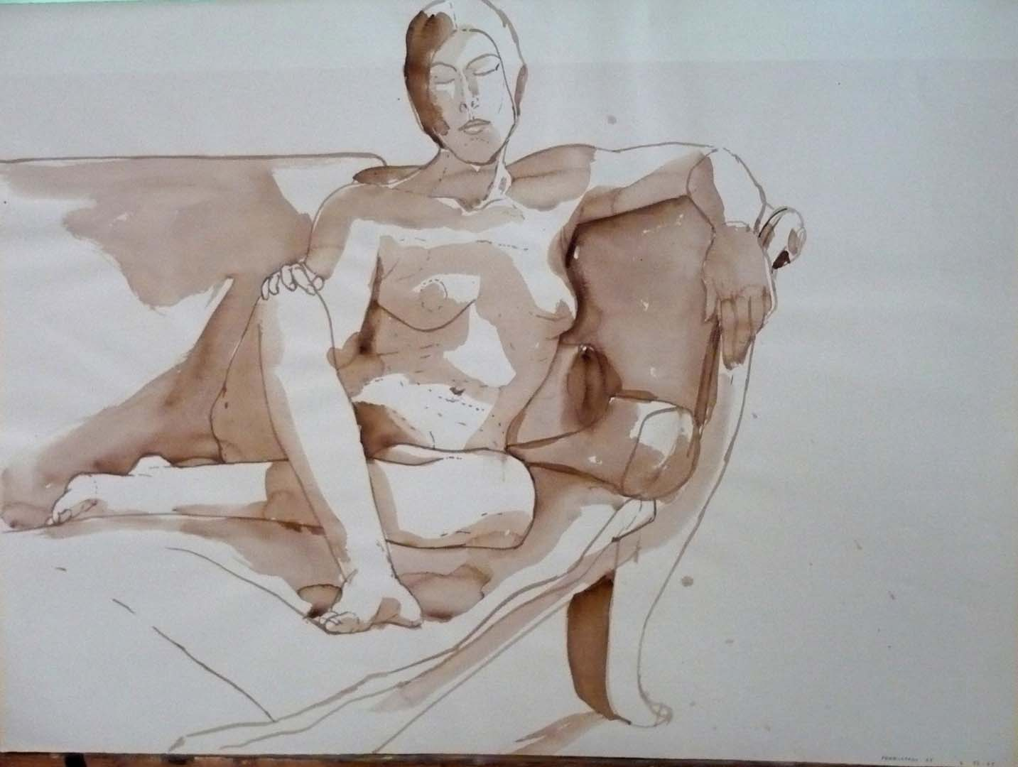 "1969 Female Model Seated on Sofa Sepia 22"" x 29.875"""