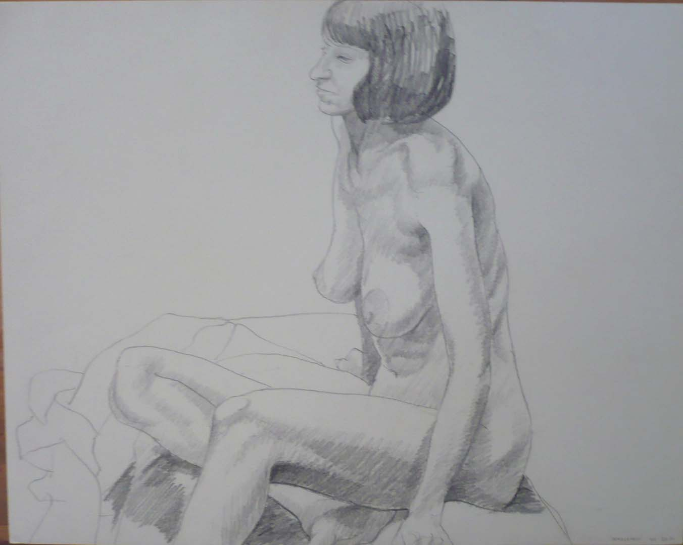 "1969 Female Nude Seated Pencil 18.875"" x 25.75"""