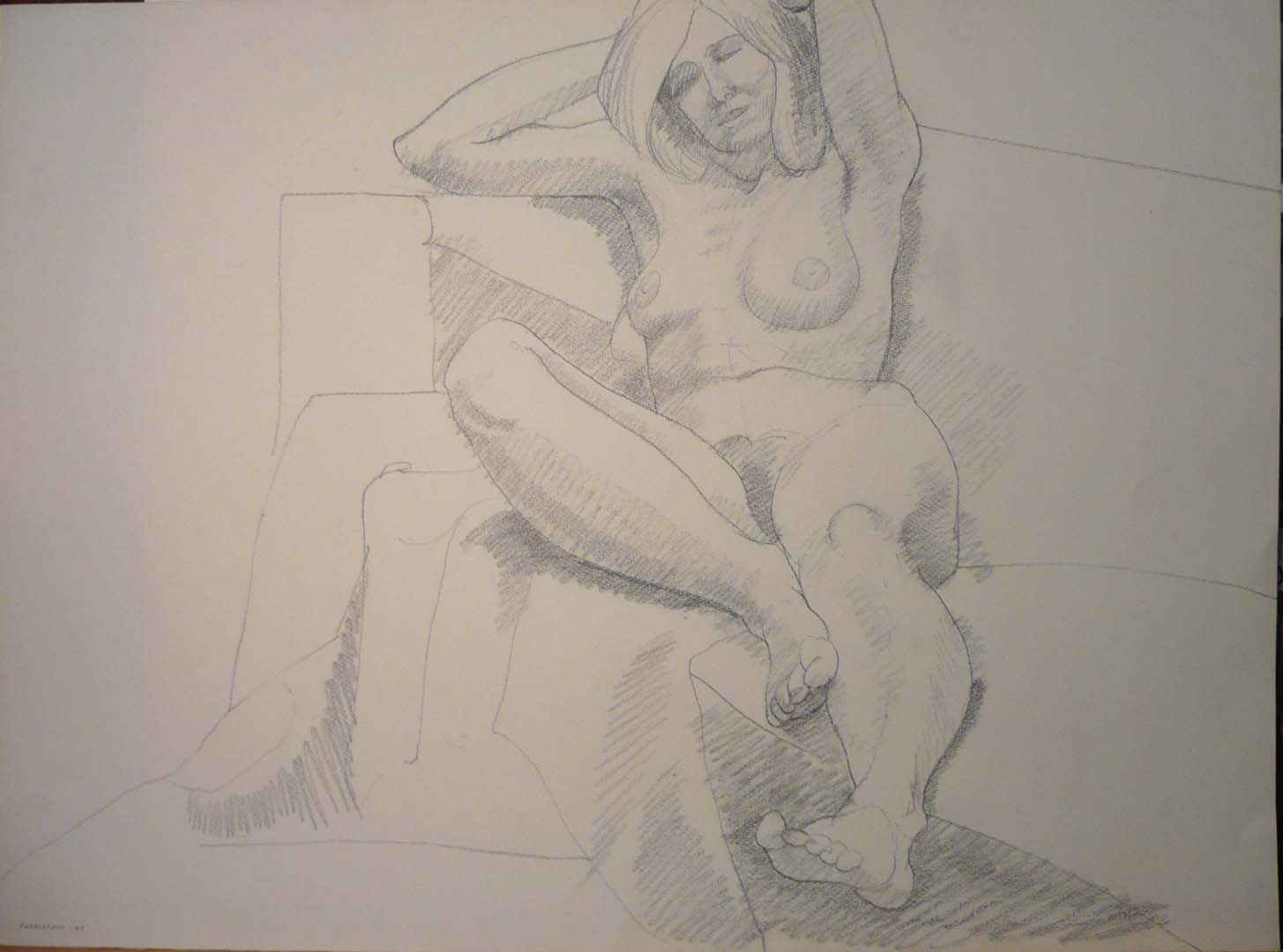 "1969 Leaning Female Model with Arms Overhead Pencil 22.125"" x 30"""