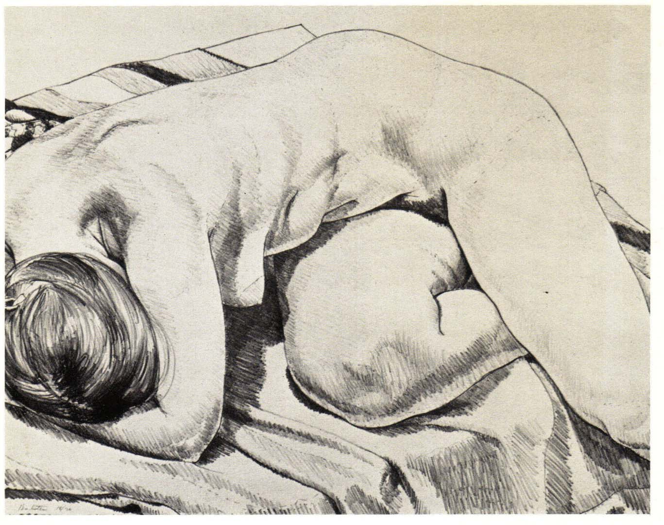 """1969 Nudes Curled Up Lithograph on Paper 18"""" x 23"""""""