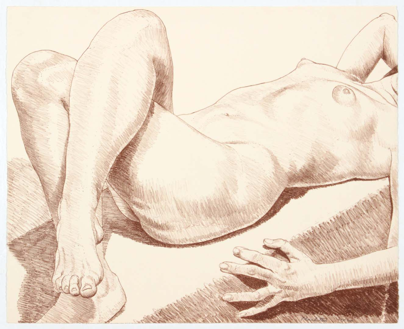 "1969 Nude Lying with Crossed Legs Lithograph on Paper 22"" x 22.5"""