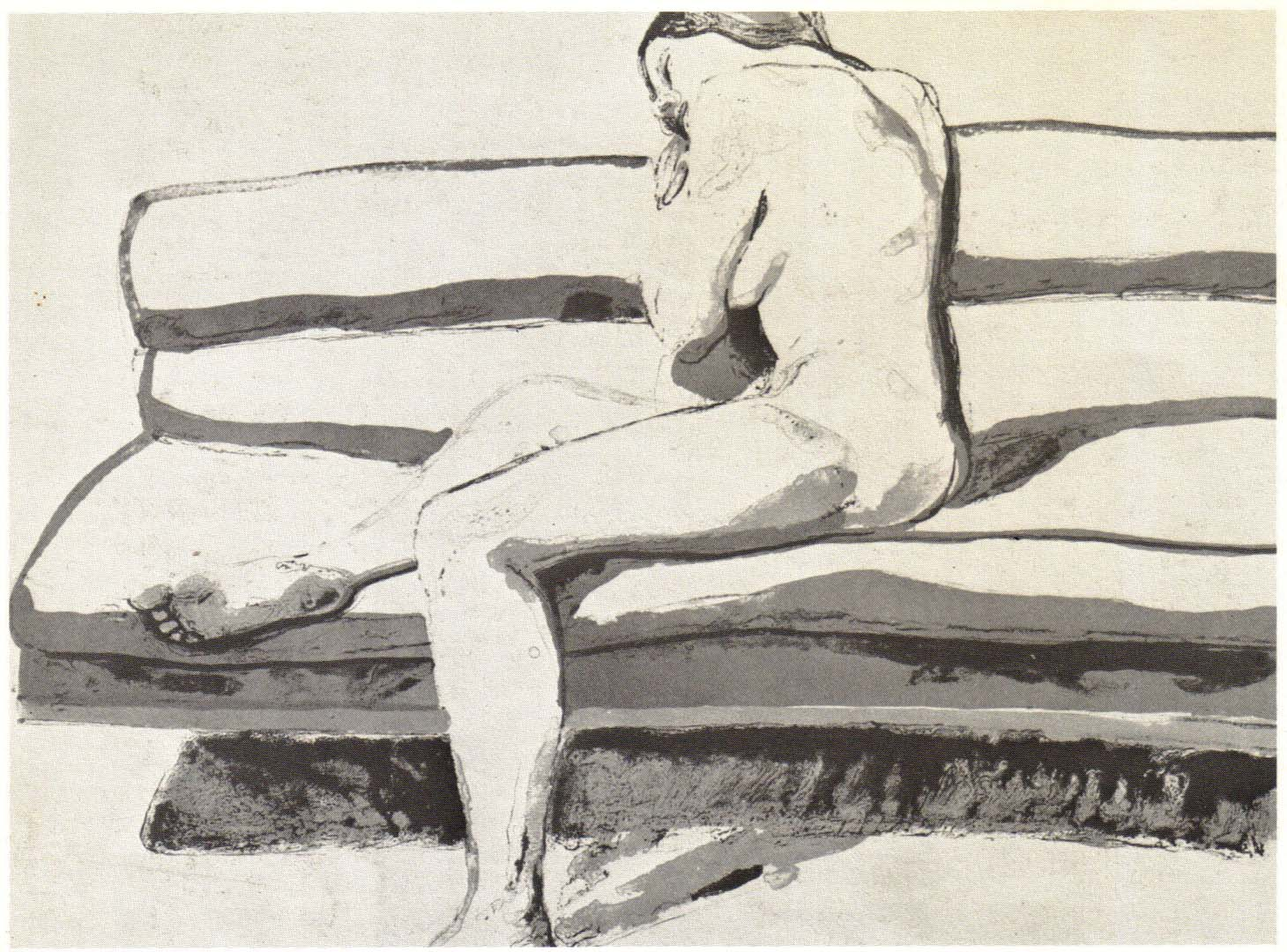 "1969 Nude on Couch Lithograph on Paper 22"" x 30"""
