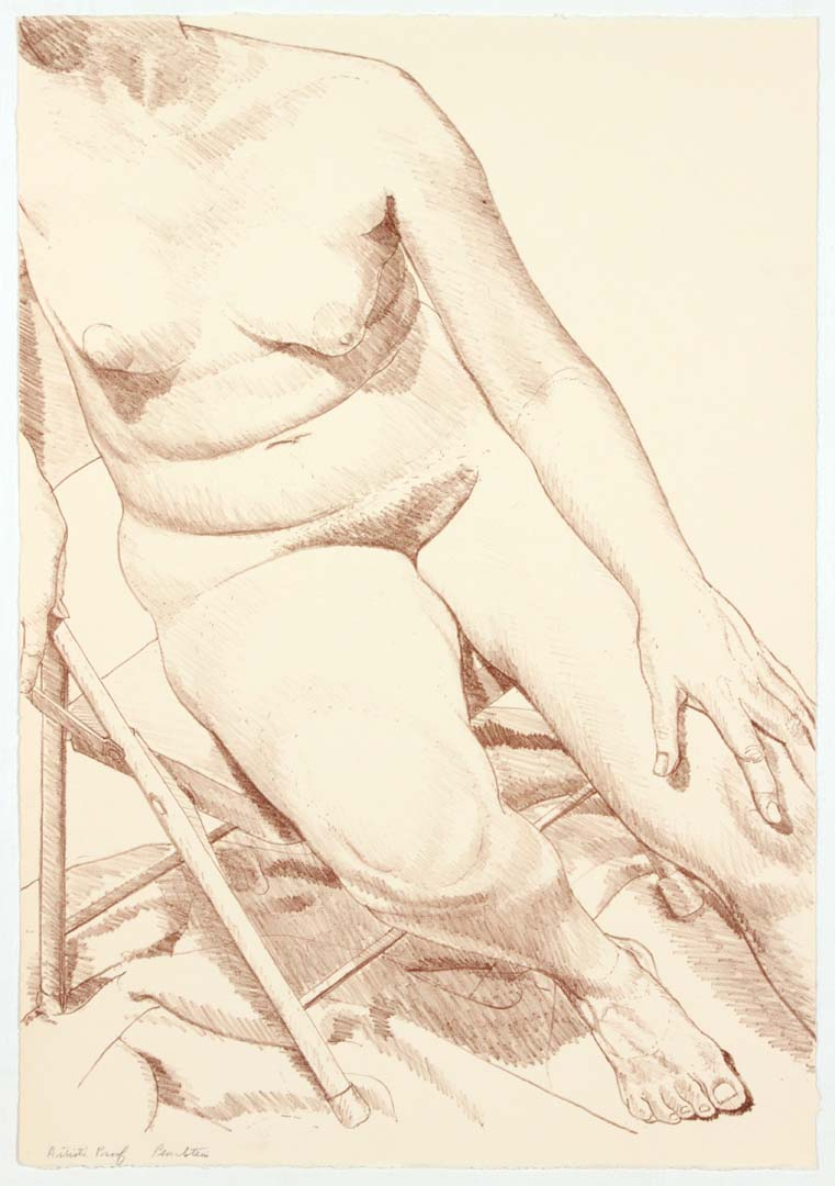 """1969 Nude on Folding Stool Lithograph on Paper 22.5"""" x 15.5"""""""