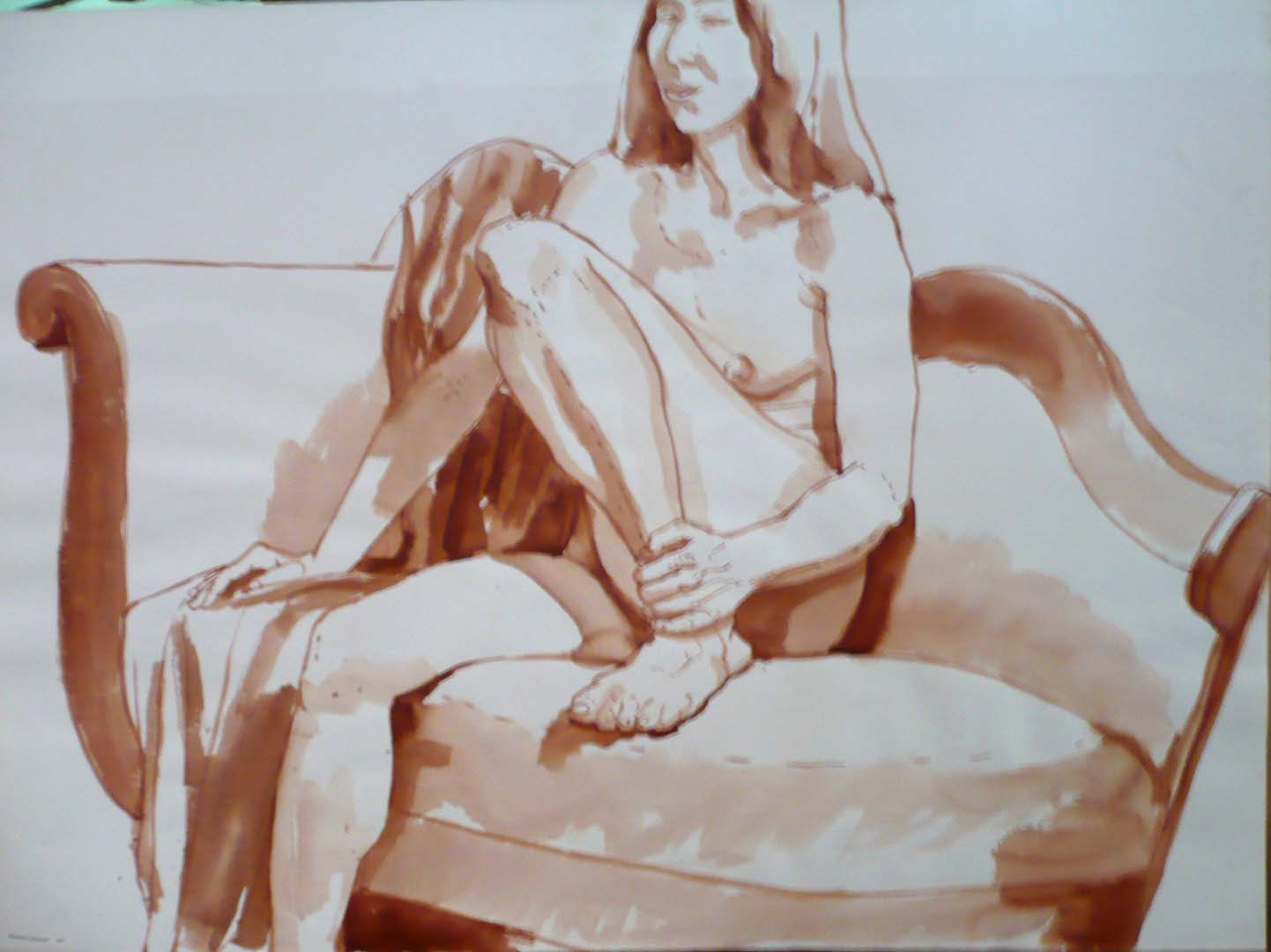 "1969 Seated Female with One Leg Raised on Sofa Sepia Wash 22"" x 29.875"""