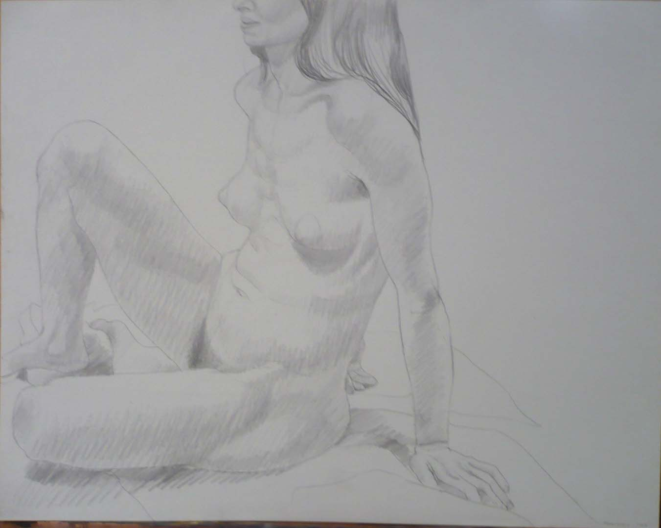 1969 Seated Model with Right Leg Raised Pencil Dimensions Unknown