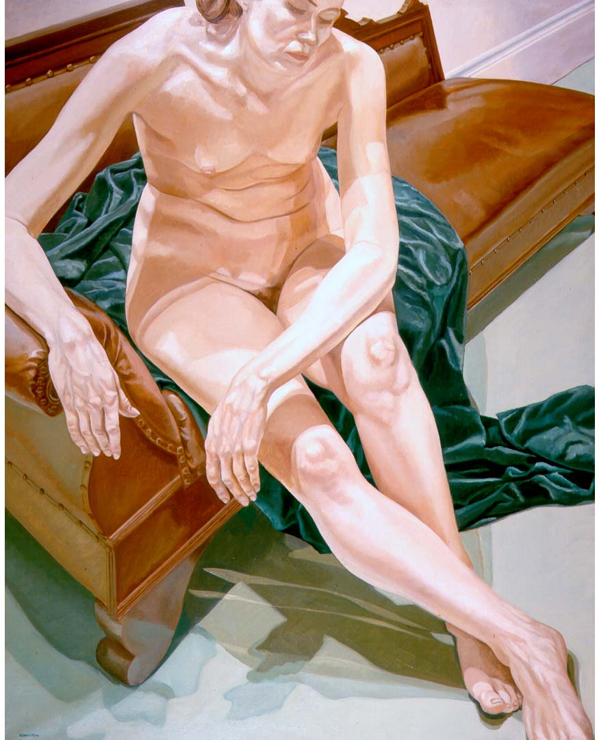 1969 Seated Nude on Green Drape Oil on Canvas 60 x 48