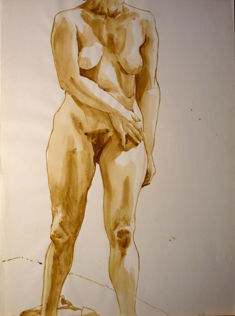 "1969 Standing Female Model Sepia 29.875"" x 22"""