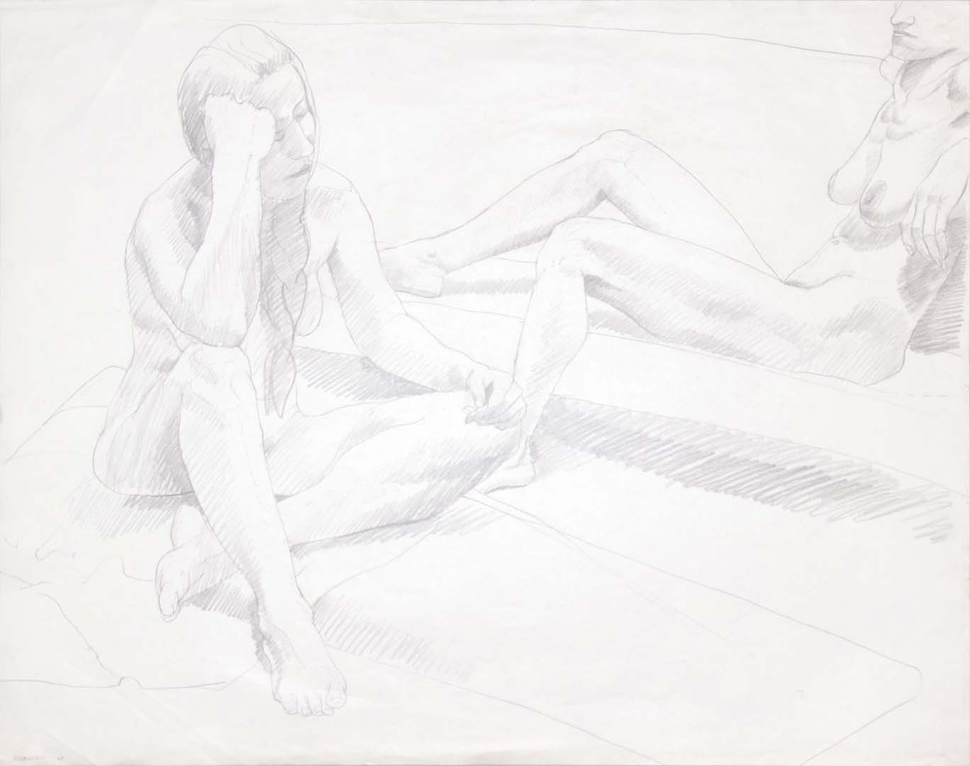 "1969 Two Seated Female Nudes Graphite 22.5"" x 28.5"""