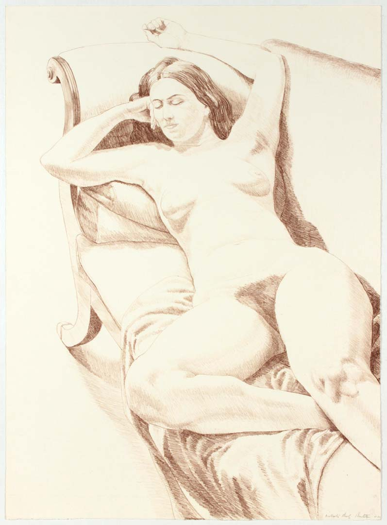 "1970 Figure on Couch Lithograph on Paper 30"" x 22"""