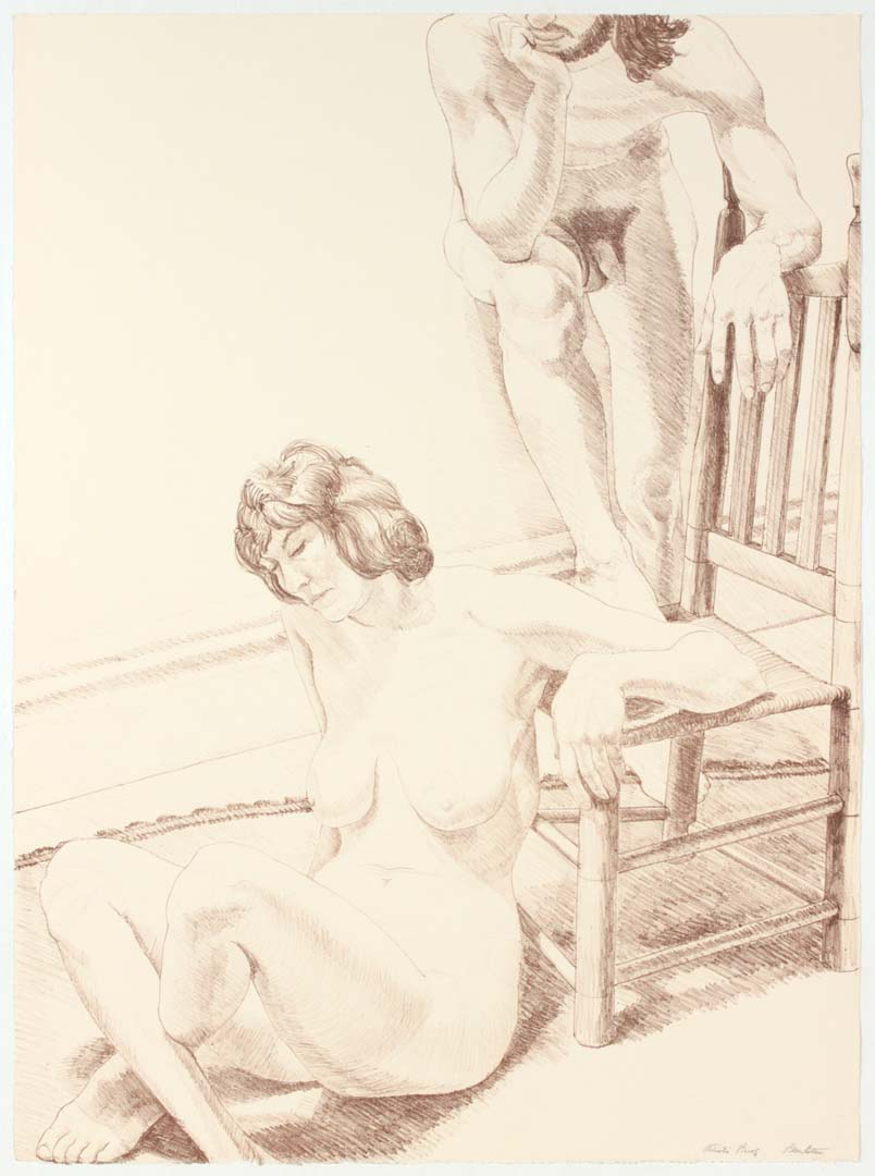 "1970 Male and Female Figure Lithograph on Paper 30"" x 22"""