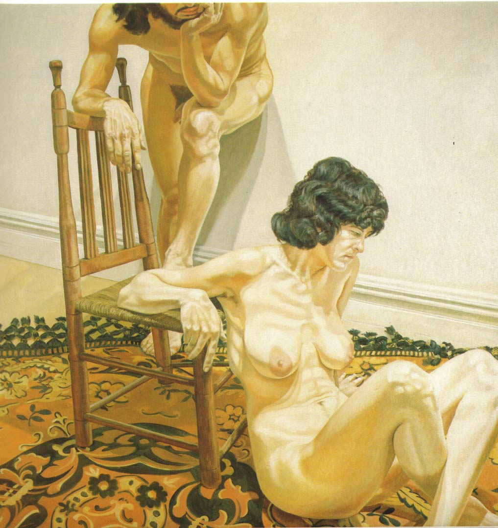 "1970 Male and Female Models Leaning on Chair Oil on Canvas 72"" x 72"""
