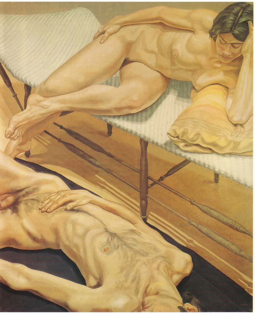 "1970 Male and Female Nudes Reclining Oil on Canvas 71"" x 59"""