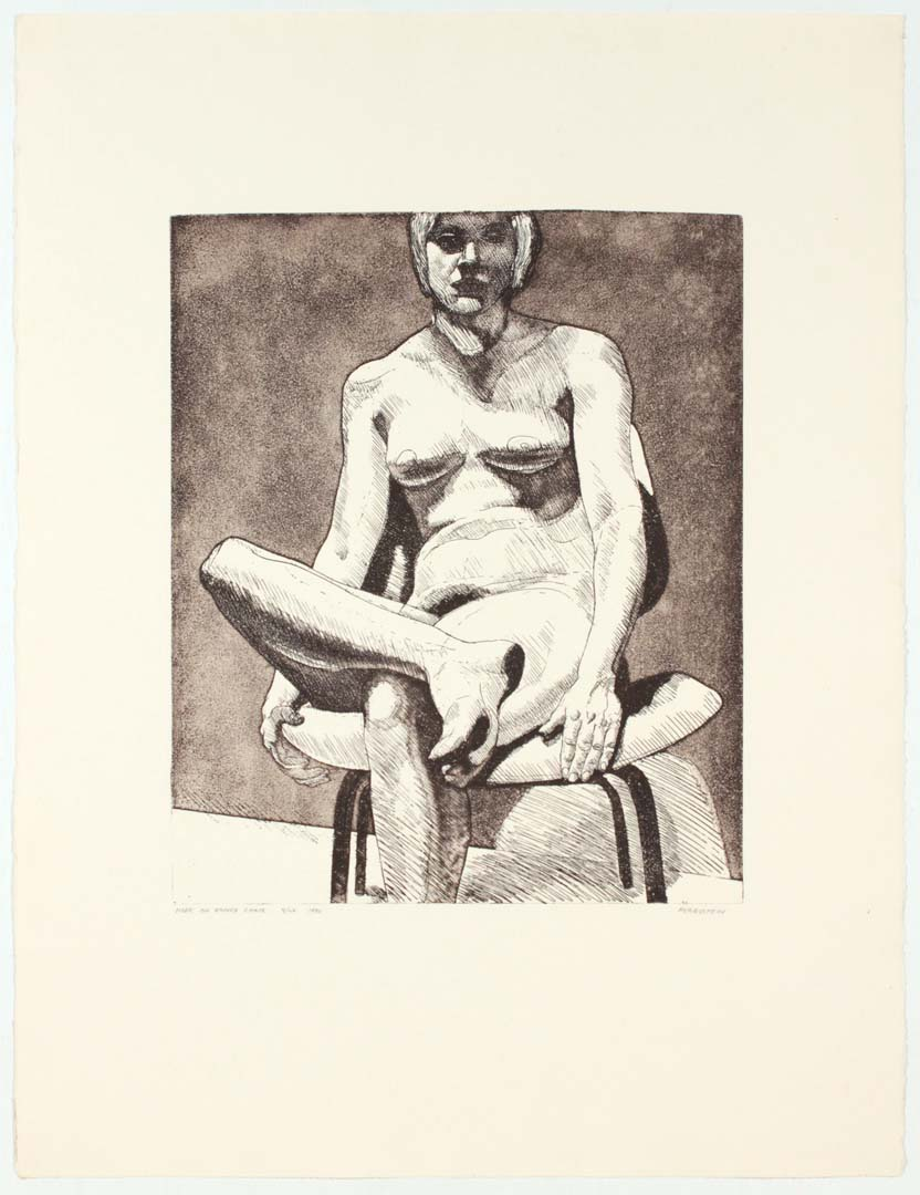 "1970 Nude on Eames Chair Aquatint Etching on Paper 29.25"" x 22.25"""