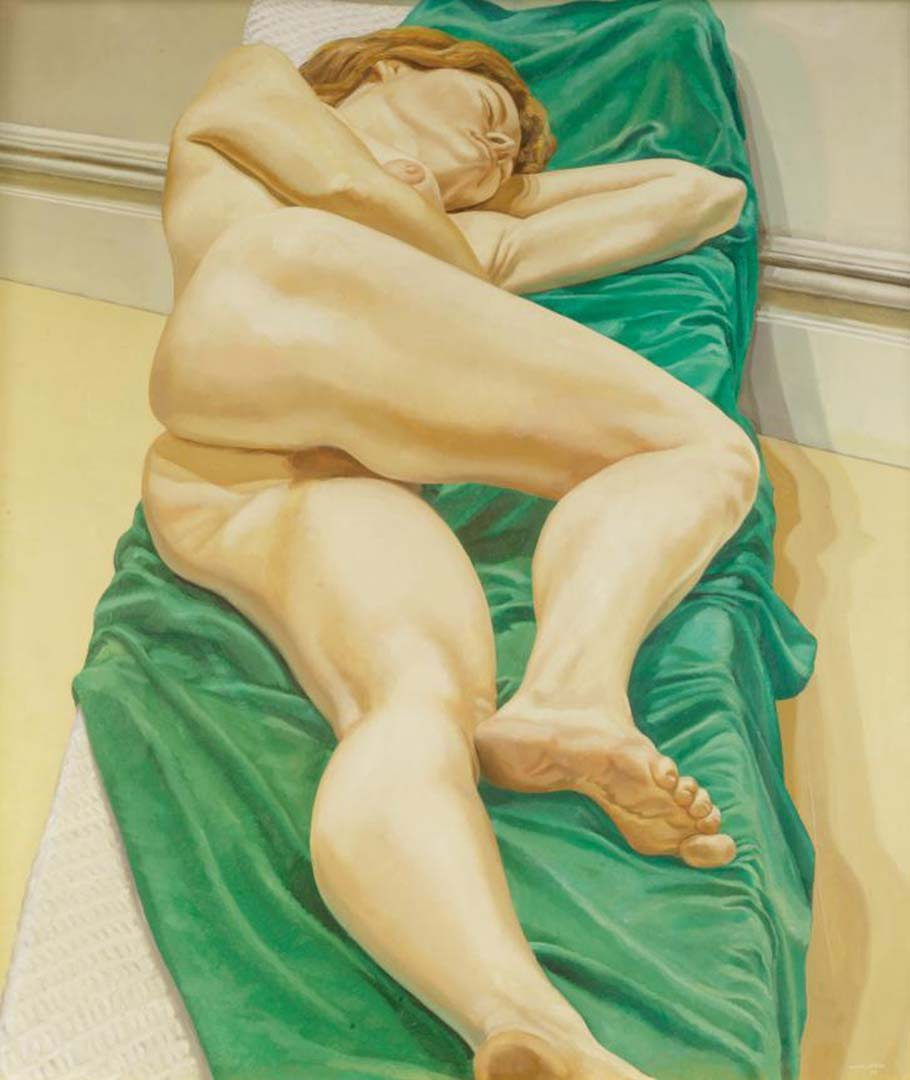"1970 Nude on Green Drape Oil on Canvas 50"" x 44"""