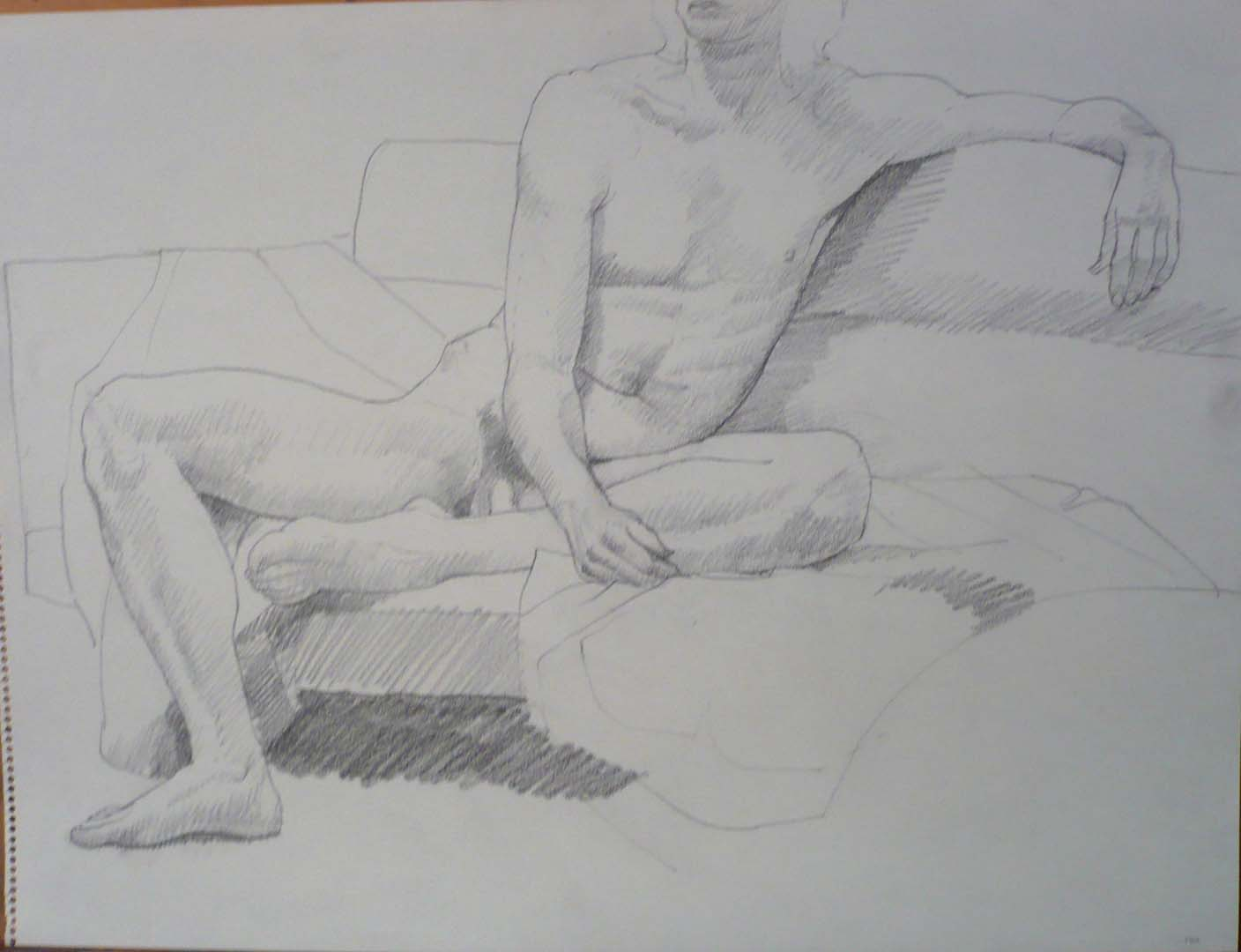 "1970 Seated Male Model on Sofa Pencil 18"" x 24"""