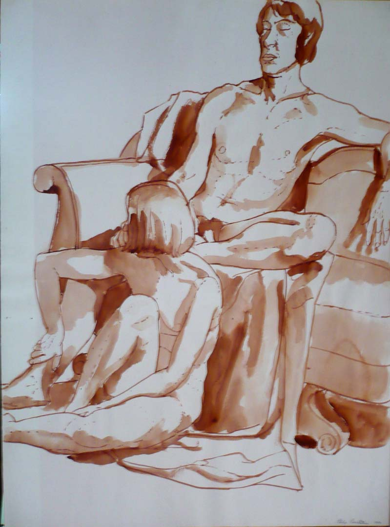 "1970 Seated Male and Female Models on Sofa Sepia 30"" x 22"""