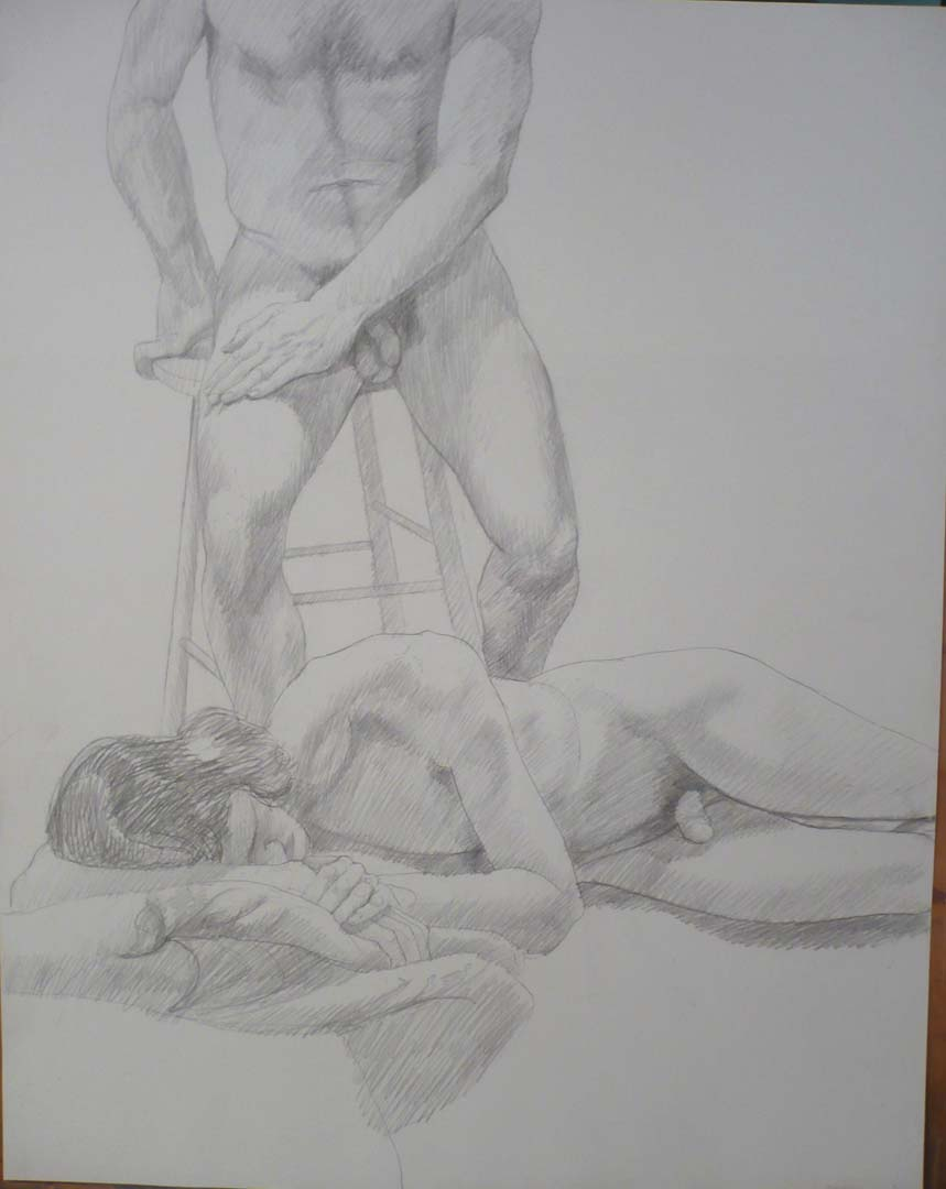 1979 Two Male models with Stool Pencil 28.5 x 22.5