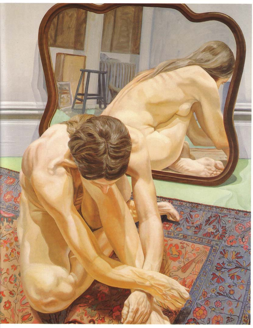"1971 Crouching Female Nude with Mirror Oil on Canvas 60"" x 48"""