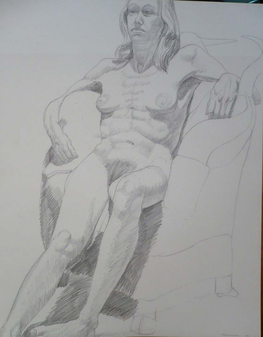 1971 Female Nude Seated on Armchair Pencil 24 x 18.875