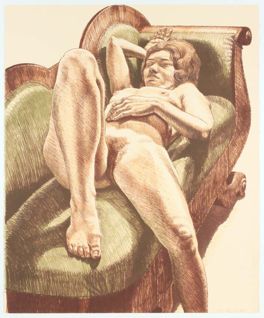 "1971 Reclining Nude on Green Couch Lithograph on Paper 27"" x 22.375"""