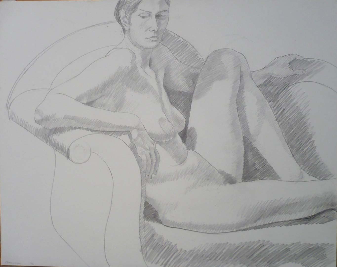 "1971 Seated Female with Raised Leg Pencil 18.875"" x 24"""